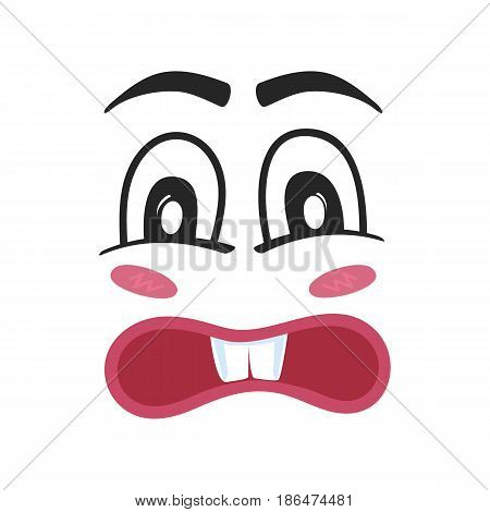 Wonder emoji emoticon or smiley face character. Funny facial expression, cute comic face isolated vector illustration.