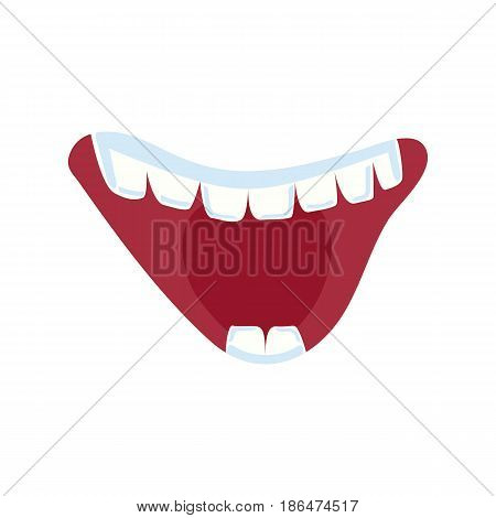 Cheerful comic mouth with teeth isolated vector illustration. Funny emoji emoticon expression cartoon icon on white.