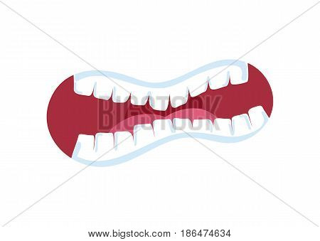 Horror comic mouth with teeth isolated vector illustration. Funny emoji emoticon expression cartoon icon on white.