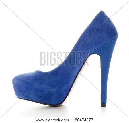 Isolating blue shoes on a white background
