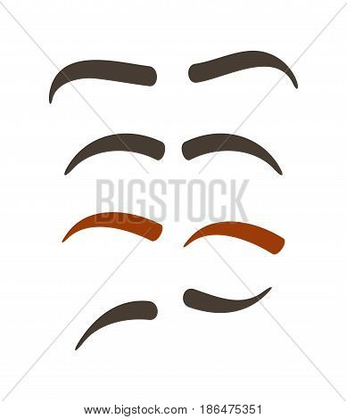 Comic eyebrow expression set isolated vector illustration. Funny emoji emoticon, expression brow construction cartoon icon on white.