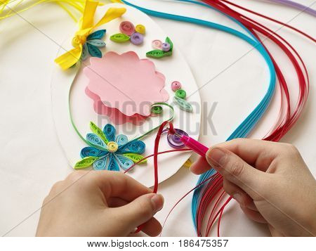 Decorate With Stripes Of Paper, Quilling .hands Child While Creative Work Making Decorations Paper