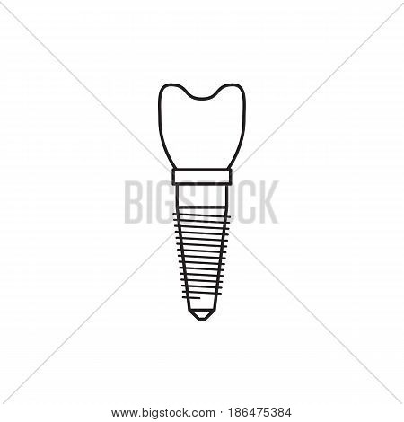 A dental implant is painted in a flat linear style, vector illustration isolated on white background