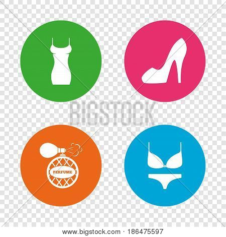 Women dress icon. Sexy shoe sign. Perfume glamour fragrance symbol. Intimates underwear. Round buttons on transparent background. Vector
