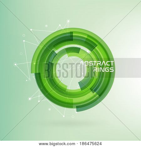 Technology circle with data lines. Green abstract background. Vector illustration.