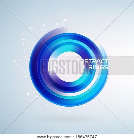 Technology circle with data lines. Blue abstract background. Vector illustration.