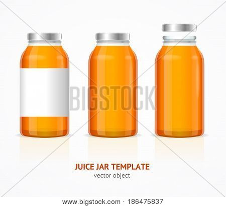 Realistic Juice Glass Jar Bottle Template Set with Label for Advertising Isolated on White Background. Vector illustration