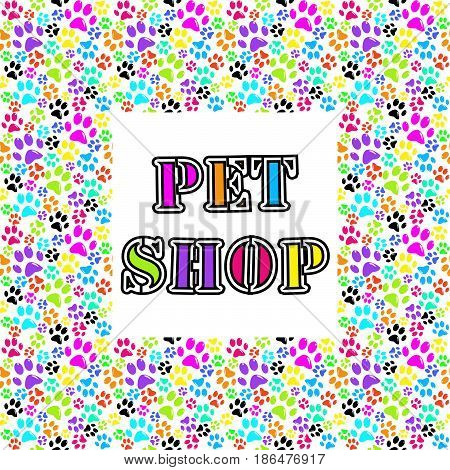 Pet shop background with colored paws against white