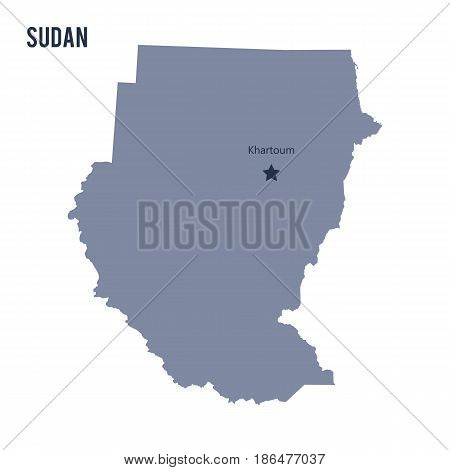 Vector map of Sudan isolated on white background. Travel Vector Illustration.
