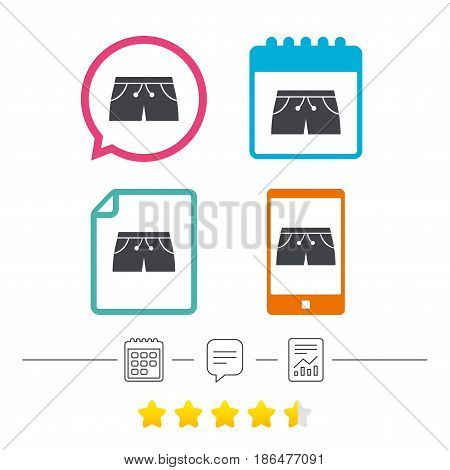 Women's sport shorts sign icon. Clothing symbol. Calendar, chat speech bubble and report linear icons. Star vote ranking. Vector