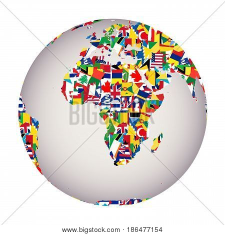 Globalization concept with Earth globe and all flags of the world