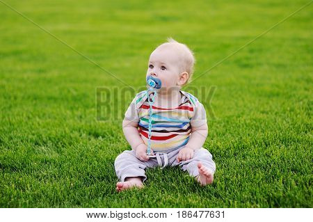 barefooted baby with a pacifier is sitting in the grass