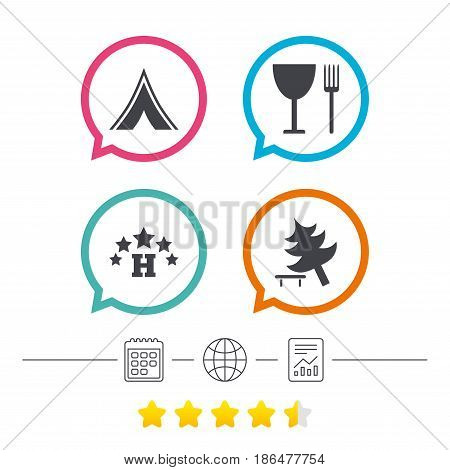 Food, hotel, camping tent and tree icons. Wineglass and fork. Break down tree. Road signs. Calendar, internet globe and report linear icons. Star vote ranking. Vector