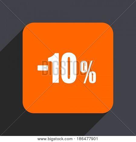 10 percent sale retail orange flat design web icon isolated on gray background