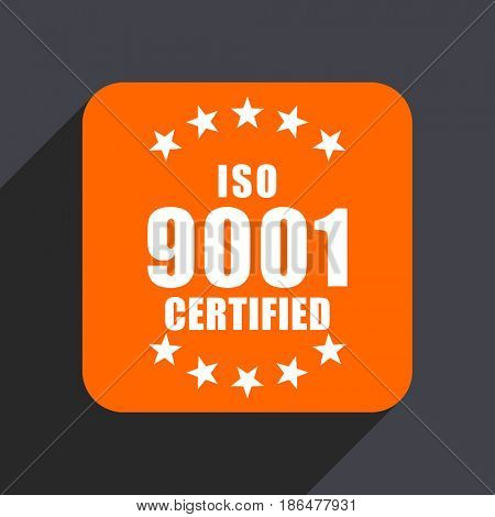 Iso 9001 orange flat design web icon isolated on gray background