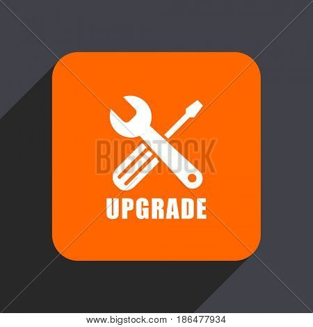 Upgrade orange flat design web icon isolated on gray background