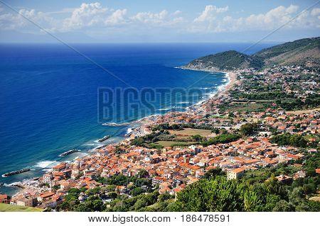 Castellabate scenic panoramic view Cilento Campania Italy; Europe