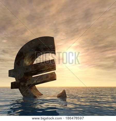 Conceptual 3D illustration currency euro sign or simbol sinking in water, sea or ocean sunset background concept for European crisis