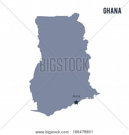 Vector map of Ghana isolated on white background. Travel Vector Illustration.