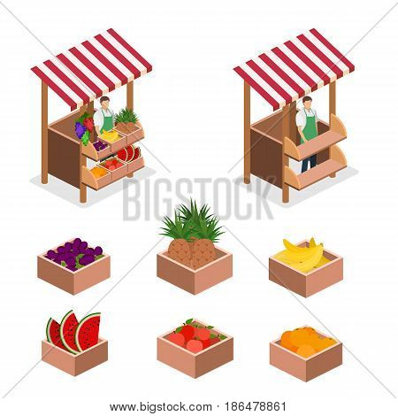 Isometric Flat 3D Isolated Concept Vector Fruit Stand.
