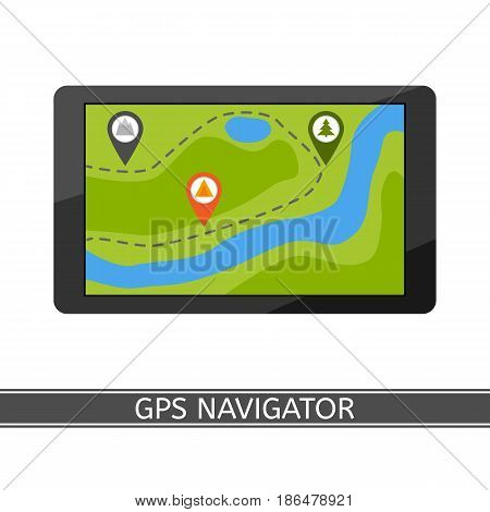 GPS navigator vector icon, flat style, isolated on white background. GPS navigation map pin.