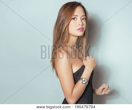 beautiful young asian woman with long hair