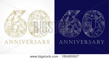 60 years old luxurious celebrating folk numbers. Template gold colored 60 th happy anniversary greetings, ethnics flowers, plants, paradise birds. Set of traditional vintage colorful congratulation.