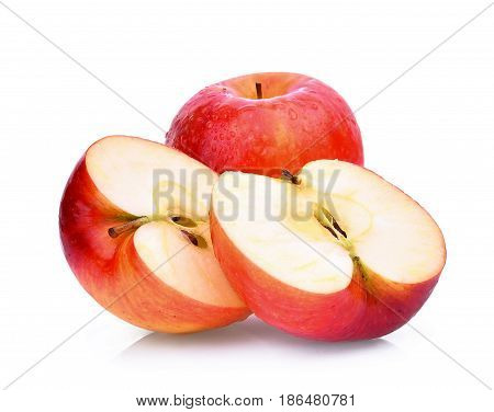 fresh red gala apples with water drops isolated on white background
