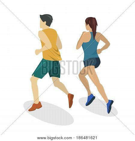 Isometric Flat 3D Isolated Concept People Running On The Road.