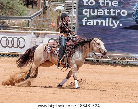 Kiryat Tivon Israel - May 13 2017 : Participants in equestrian competitions perform on a horse farm in the kibutz Alonim near Kiryat Tivon in Israel