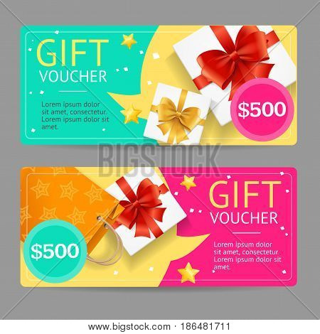 Gift Voucher Card Set Template Monetary Value with Present Box and Paper Bag. Vector illustration