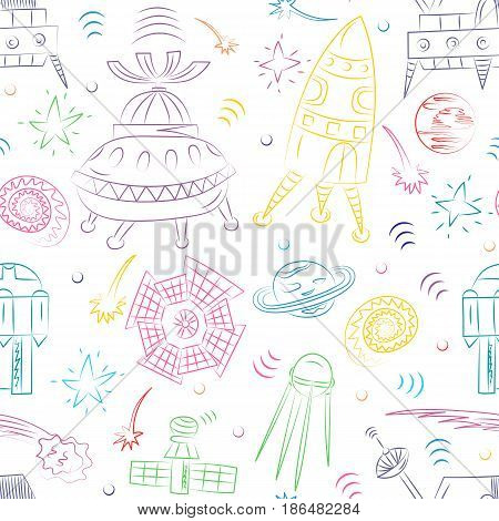 Seamless Pattern of Colorful Hand Drawn Doodle Spaceships Rockets Falling Stars Planets and Comets . Sketch Style. Vector Illustration.