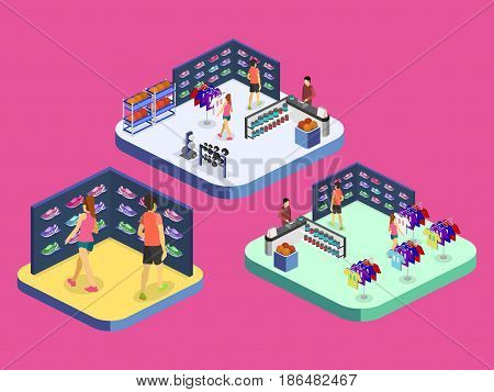Isometric flat 3D isolated concept vector interior goods for the sports shop.