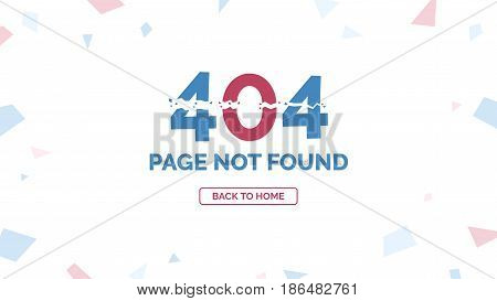 404 Error, Page not found with return home button, webdesign vector