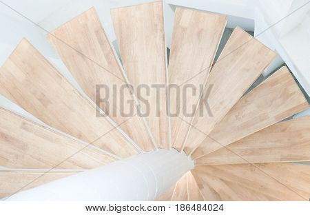 Spiral circle of wood material Staircase use for background in concept nature interior of lighthouse.