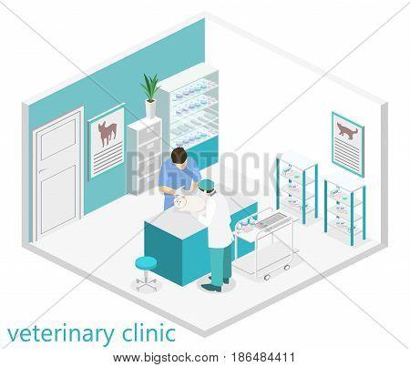Flat 3D illustration Isometric interior of veterinary clinic. The veterinarian treats the pet