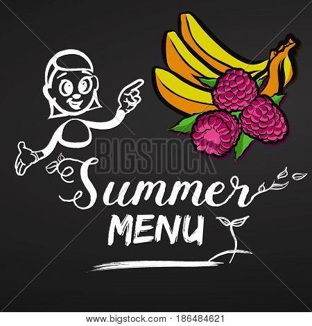 Summer Menu Raspberries And Bananas