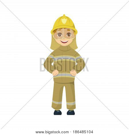 Cartoon kid fireman on white background. Funny cute character.