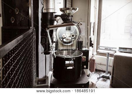 Modern coffee roaster in cafe
