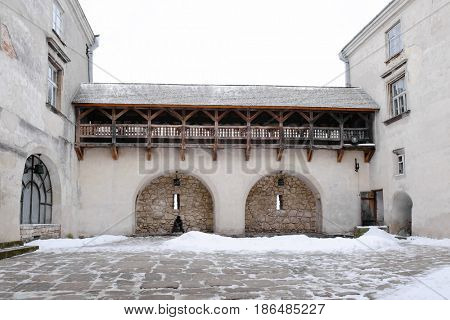 Courtyard of old castle in winter
