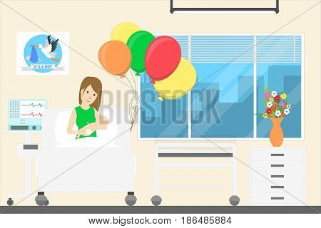 Newborn with mother in maternity hospital. Ward with ballons.