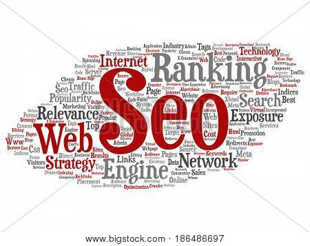 Conceptual search results engine optimization top rank, seo abstract online internet word cloud isolated on background. A marketing strategy web page content relevance network concept tagloud