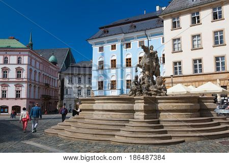 Olomouc Czech Republic - May 52017: View on the Dolni square of Olomouc Czech Republic Original name Dolni namesti. Famous unesco heritage city and tourist attraction.