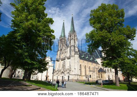 Olomouc Czech Republic - May 52017: Saint Wenceslas Cathedral is a gothic cathedral at Wenceslas square in Olomouc in the Czech Republic founded in 1107.
