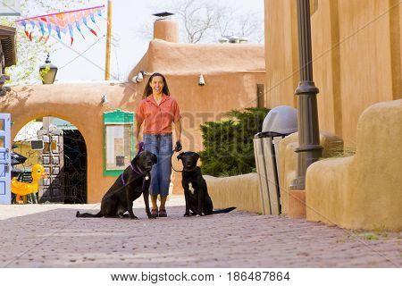 Hispanic woman walking dogs in town