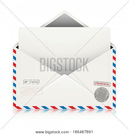 Mail Air Envelope Icon with Postal Stamp isolated on white background. Illustration