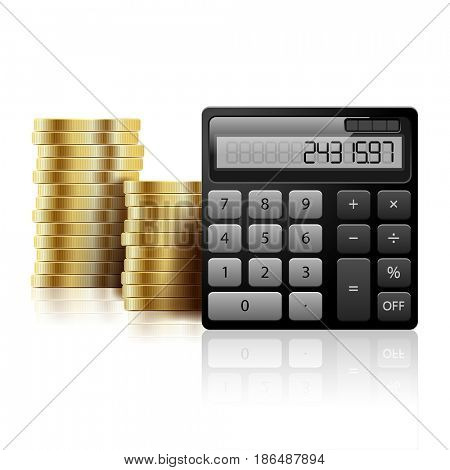 Gold Coins and calculator on a white background. Icon Business Concept. Illustration
