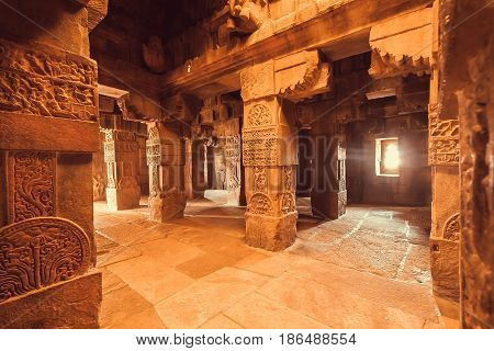 Interior of architecture landmark Hindu temple in Pattadakal, India. UNESCO World Heritage site with stone carved temples of 7th and 8th-century