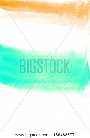 Card with tuquoise and orange blots. Watercolor painting for design. Abstract bright textured backdrop. Postcard banner logo invitation. Hand paint isolated on white background. Vector illustration