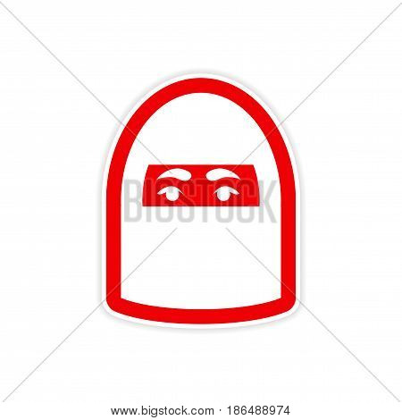 stylish paper sticker on white background woman in burqa